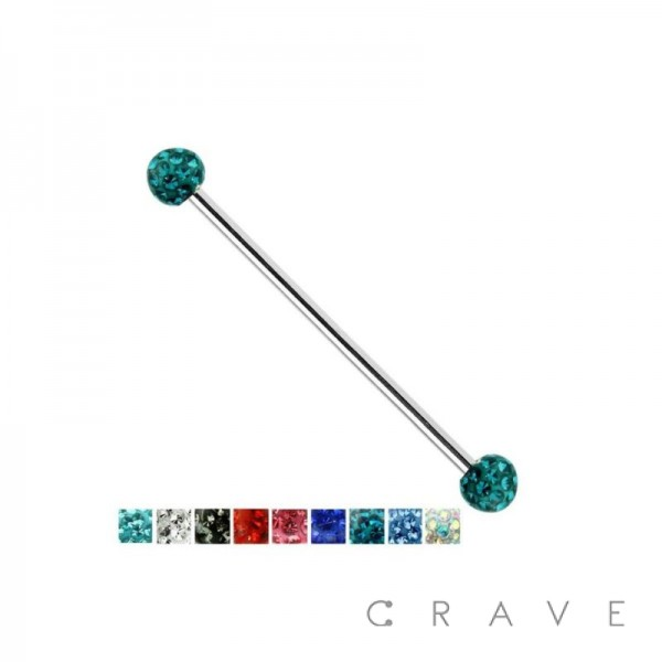 CRYSTAL PAVED EPOXY FERIDO BALL 316L SURGICAL STEEL INDUSTRIAL BAR