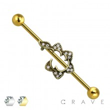GOLD PLATED GEM PAVED FALLING STAR 316L SURGICAL STEEL INDUSTRIAL BARBELL