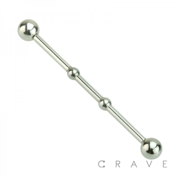316L SURGICAL STEEL  TWO NOTCHES  INDUSTRIAL BARBELL WITH BALLS