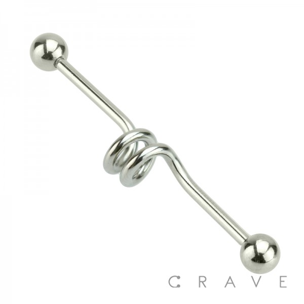 316L SURGICAL STEEL DOUBLE SPIRAL INDUSTRIAL BARBELL