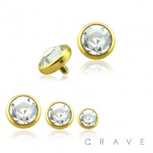 GOLD PVD PLATED OVER 316L SURGICAL STEEL INTERNALLY THREADED DERMAL ANCHORS W/ GEM SET FLAT BOTTOM DOME