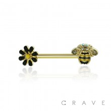 BEE AND DAISY FLOWER 316L SURGICAL STEEL BARBELL NIPPLE BAR