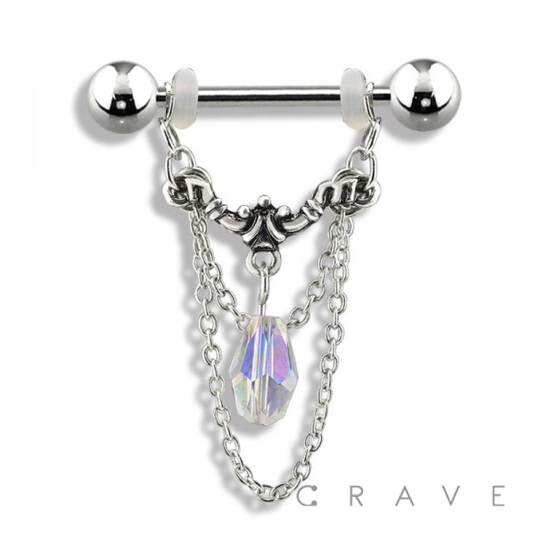 316L SURGICAL STEEL DANGLE WITH GEM AND CHAIN NIPPLE SHIELD