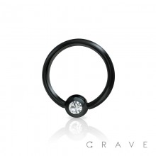 BLACK PVD PLATED 316L SURGICAL STEEL CAPTIVE BEAD RING WITH GEM BALL