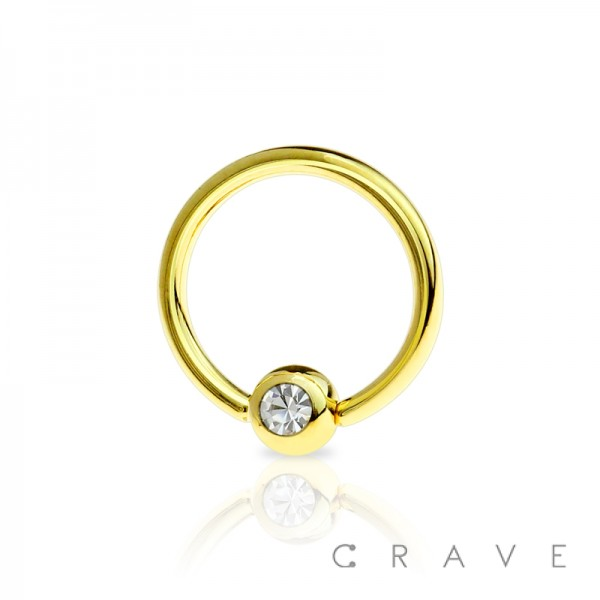 GOLD PVD PLATED 316L SURGICAL STEEL  CAPTIVE BEAD RING WITH GEM BALL