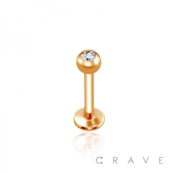 ROSE GOLD PVD PLATED OVER 316L SURGICAL STEEL LABRET/MONROE WITH CLEAR GEM