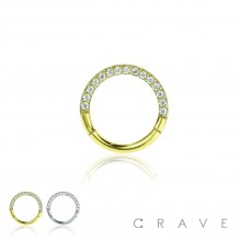 316L SURGICAL STEEL FRONT GEM PAVED CROSS FRONT HINGED SEGMENT RING FOR SEPTUM, HELIX, TRAGUS, CAPTI
