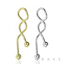 316L SURGICAL STEEL TWISTED SPIRAL BARBELL FOR INDUSTRIAL AND BELLY