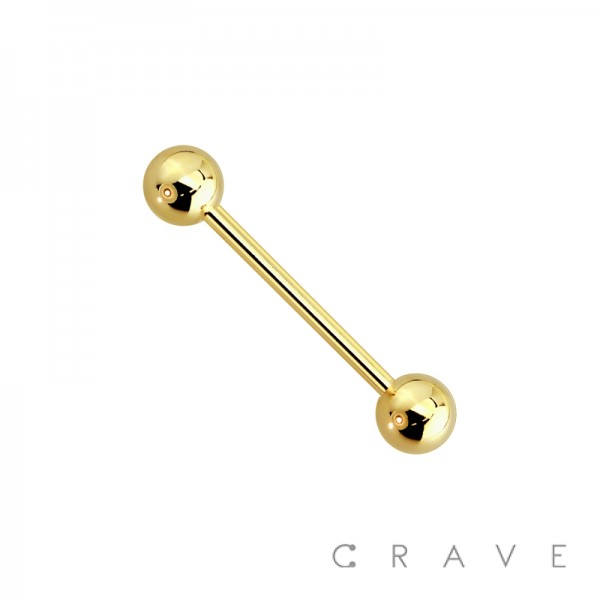 GOLD PLATED OVER 316L SURGICAL STEEL BARBELL