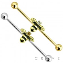 BUMBLE BEE CENTER GOLD PLATED 316L SURGICAL STEEL INDUSTRIAL BARBELL