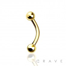 GOLD PVD PLATED OVER 316L SURGICAL STEEL EYEBROW WITH BALLS
