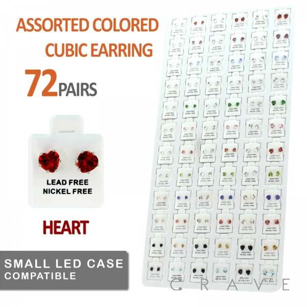 72 PAIRS OF ASSORTED COLOR HEART CUBIC ZIRCONIA STUD EARRING PACKAGE WITH INSERT TRAY