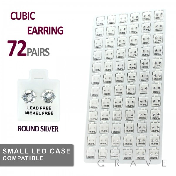 72 PAIRS OF CLEAR ROUND CZ STUD EARRINGS TRAY