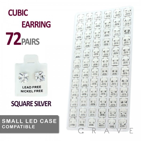 72 PAIRS OF CLEAR SQUARE CZ STUD EARRINGS TRAY
