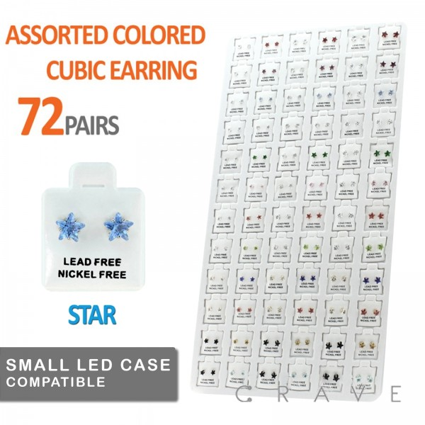 72 PAIRS OF ASSORTED COLOR STAR CUBIC ZIRCONIA STUD EARRING PACKAGE WITH INSERT TRAY