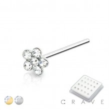 20PCS OF GOLD PLATED 925 STERLING SILVER NOSE PIN WITH FLOWER CLEAR GEM