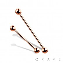 ROSE GOLD PVD PLATED OVER 316L SURGICAL STEEL BARBELL