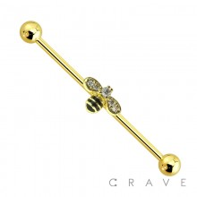 BUMBLE BEE CENTER GOLD PLATED 316L SURGICAL STEEL INDUSTRIAL BARBELL - A