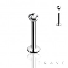 INTERNALLY THREADED 316L SURGICAL STEEL LABRET/MONROE WITH GEM BALL
