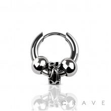 (1 piece) TRIBAL CHARM WITH BALL SLIDE IN EARRING 315L SURGICAL STEEL(1 piece)