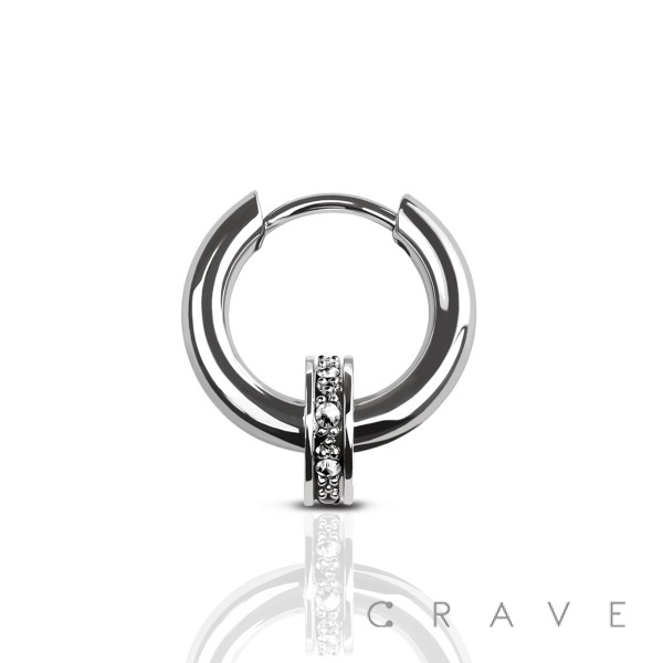 (1 piece) CZ PAVED CHARM SLIDE IN EARRING 316L SURGICAL STEEL (1 piece)