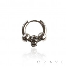 LOOP CHARM WITH BALL SLIDE IN EARRING 315L SURGICAL STEEL