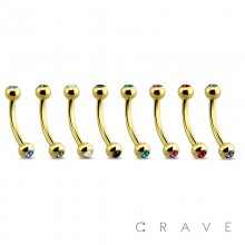 GOLD PVD PLATED OVER 316L SURGICAL STEEL EYEBROW WITH COLOR GEMS