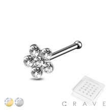 20PCS OF GOLD PLATED 925 STERLING SILVER NOSE BONE STUD WITH FLOWER CLEAR GEM
