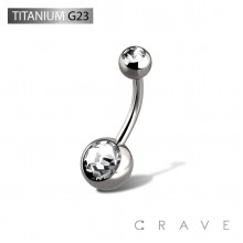 GRADE 23 SOLID TITANIUM NAVEL RINGS WITH PRESS FIT CLEAR DOUBLE GEM