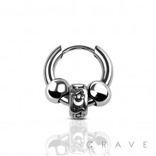 TUBE TRIBAL CHARM WITH BALL SLIDE IN EARRING 315L SURGICAL STEEL