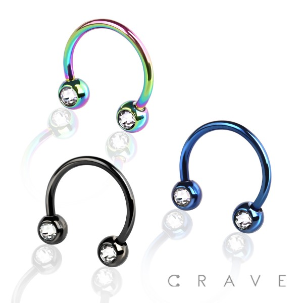 IP OVER 316L SURGICAL STEEL FRONT FACING PRESS FIT GEM BALLS HORSESHOE FOR NIPPLE, SEPTUM AND E