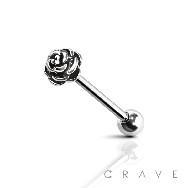 ROSE END 316L SURGICAL STEEL TONGUE BARBELL (FLOWER)