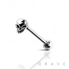 SKULL END 316L SURGICAL STEEL TONGUE BARBELL