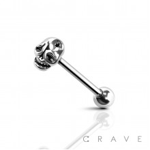 STAR SKULL END 316L SURGICAL STEEL TONGUE BARBELL