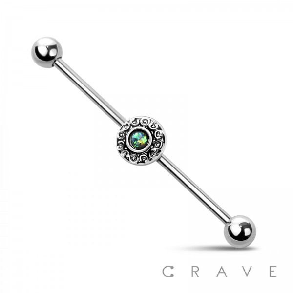 ROUND HEART LINK GLITTER OPAL 316L SURGICAL STEEL INDUSTRIAL BARBELL
