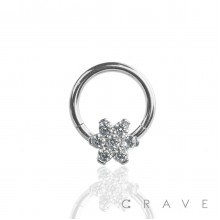 316L SURGICAL STEEL HINGED SEGMENT HOOP RINGS WITH CZ FLOWER