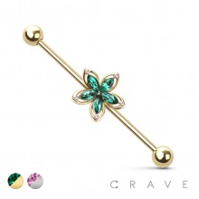 CZSTONE FLOWER 316L SURGICAL STEEL INDUSTRIAL BARBELL