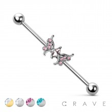 CZ BUTTERFLY CENTER 316L SURGICAL STEEL INDUSTRIAL BARBELL