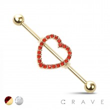 CZ PAVED HEART 316L SURGICAL STEEL INDUSTRIAL BARBELL