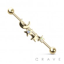 MOON AND STAR CZ CENTER 316L SURGICAL STEEL INDUSTRIAL BARBELL