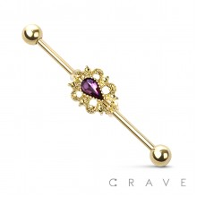 TEAR DROP CENTERED LACE DECORATION INDUSTRIAL BARBELL