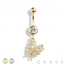 FLY AWAY GEM PAVED BUTTERFLY DANGLE 316L SURGICAL STEEL NAVEL RING