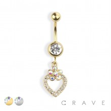 TWO TONE GEM HOOP HEART DANGLE 316L SURGICAL STEEL NAVEL RING