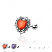CZ DECORATED RACE HEART CARTILAGE, TRAGUS BARBELL