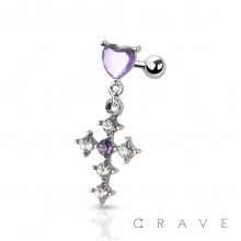 CZ DECORATED CROSS CHARM DANGLE HEART CARILAGE, TRAGUS, BARBELL