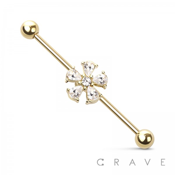 CZ FLOWER 316L SURGICAL STEEL INDUSTRIAL BARBELL