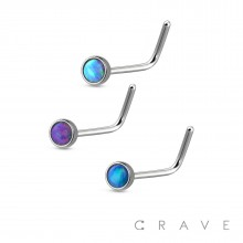 VIBRANT COLORED OPAL PRESS FIT 316L SURGICAL STEEL