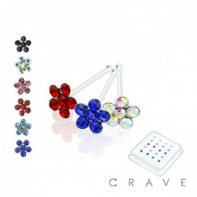 20PCS OF 925 STERLING SILVER NOSE BONE WITH FLOWER MIXED COLOR GEM