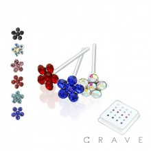 20PCS OF 925 STERLING SILVER NOSE RING WITH FLOWER MIXED COLOR GEM