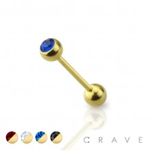 GOLD PVD PLATED OVER 316L SURGICAL STEEL BARBELL WITH PRESS FIT COLOR GEM
